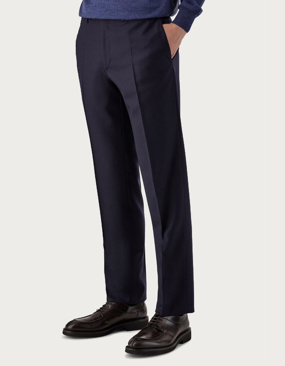 Canali Navy blue pure wool flannel dress pants-2_0