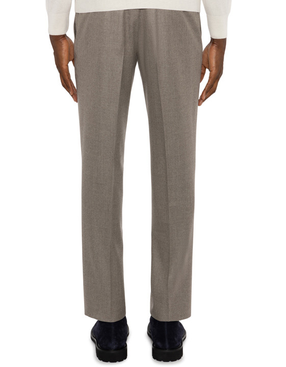Canali Beige pure wool dress pants-2_3