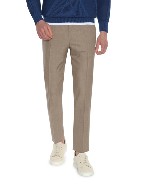 Canali Light brown wool dress pants-2_1