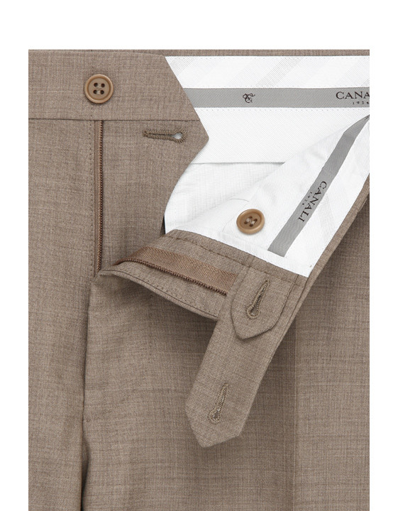 Canali Light brown wool dress pants-2_4