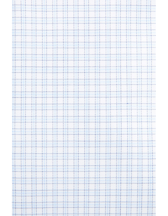 Canali White and light blue micro check dress shirt in pure cotton-2_1