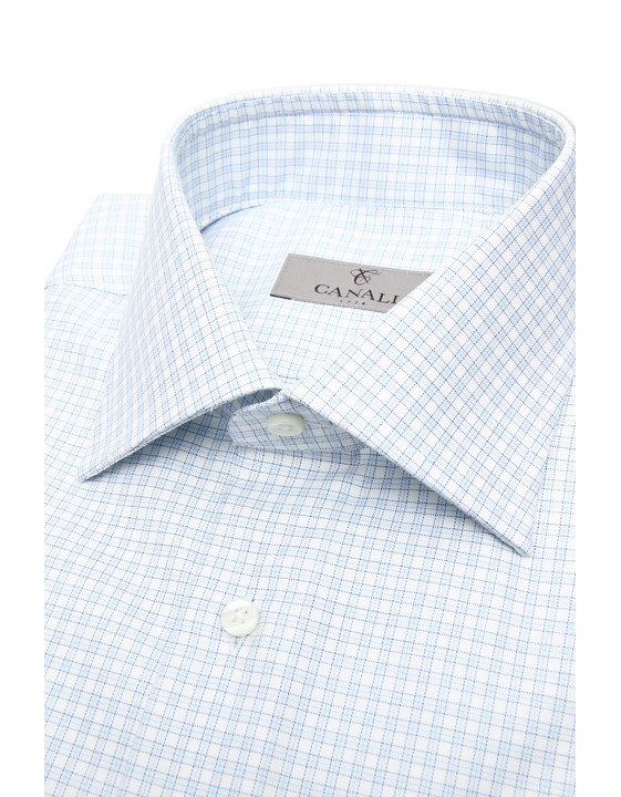 Canali White and light blue micro check dress shirt in pure cotton-2_2