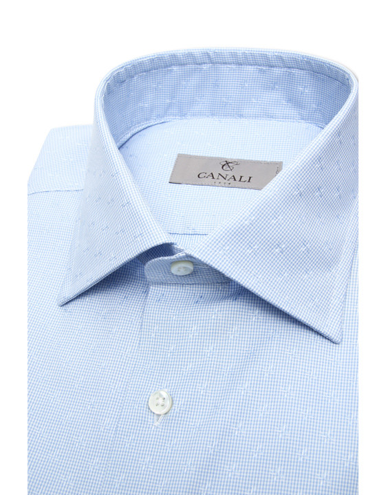 Canali Light blue dress shirt with gingham optical motif in pure cotton-2_2