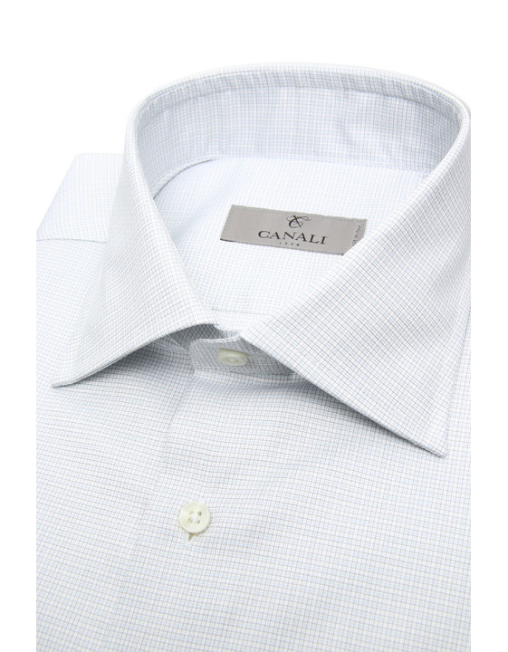 Canali Pure cotton dress shirt with green and blue checked motif-2_2