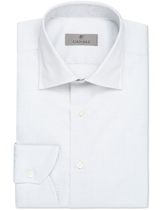Canali Pure cotton dress shirt with green and blue checked motif-2_0