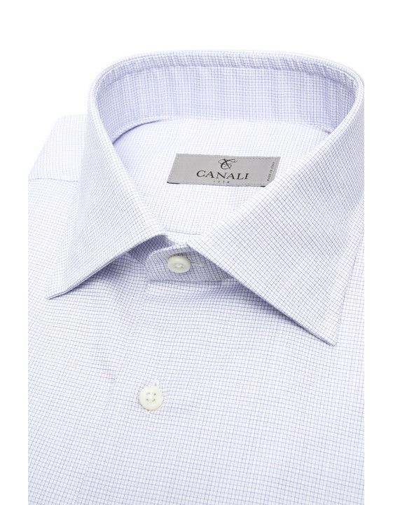 Canali Pure cotton dress shirt with purple and blue checked motif-2_2