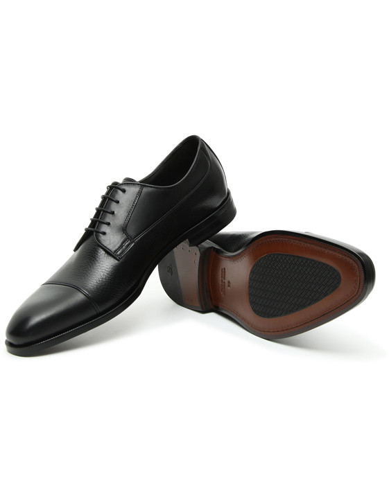 Canali Black Derby Shoes in Dual-Textured Leather-2_1