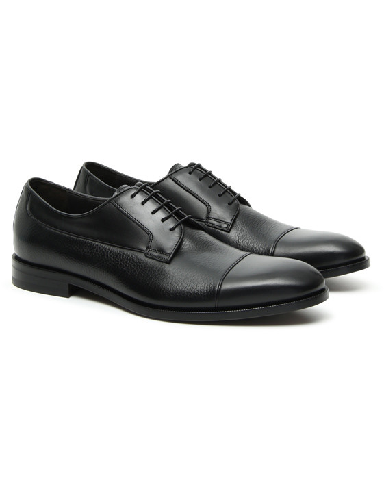 Canali Black Derby Shoes in Dual-Textured Leather-2_2