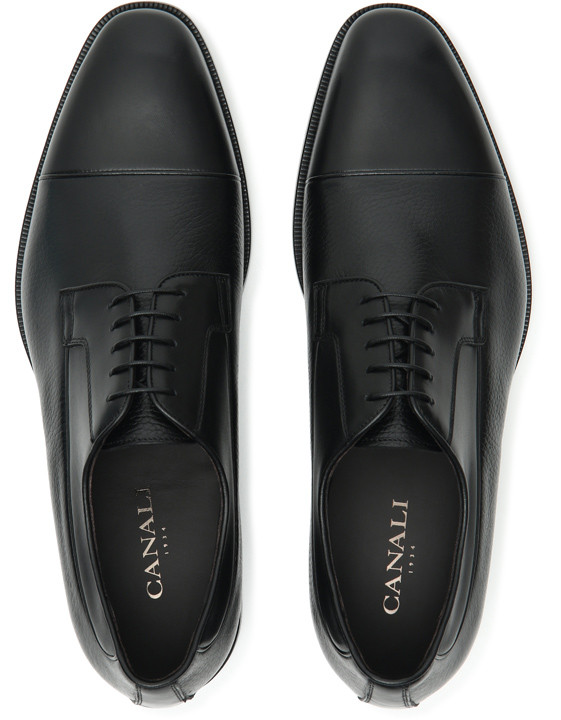 Canali Black Derby Shoes in Dual-Textured Leather-2_4