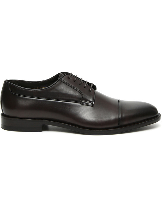 Canali Dark brown hand-buffed leather Derby shoes-2_0