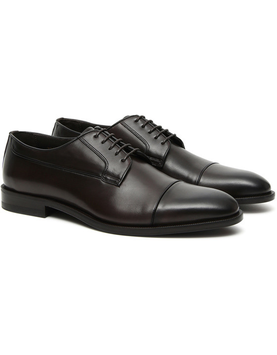 Canali Dark brown hand-buffed leather Derby shoes-2_2