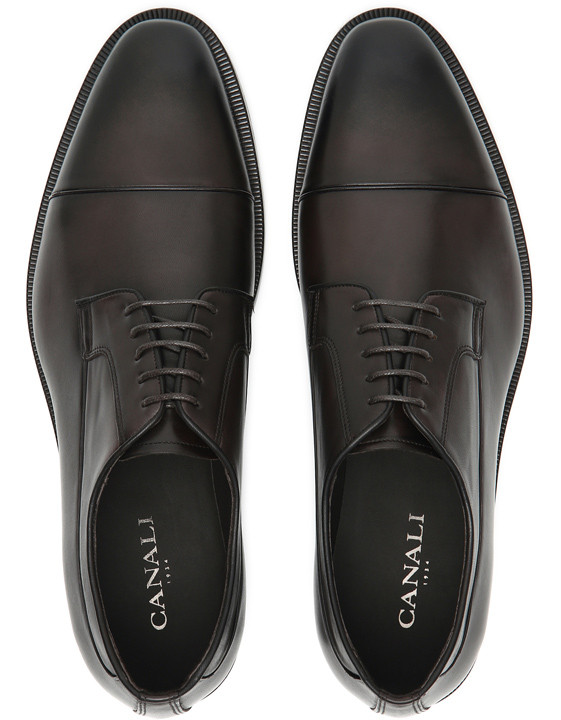 Canali Dark brown hand-buffed leather Derby shoes-2_4