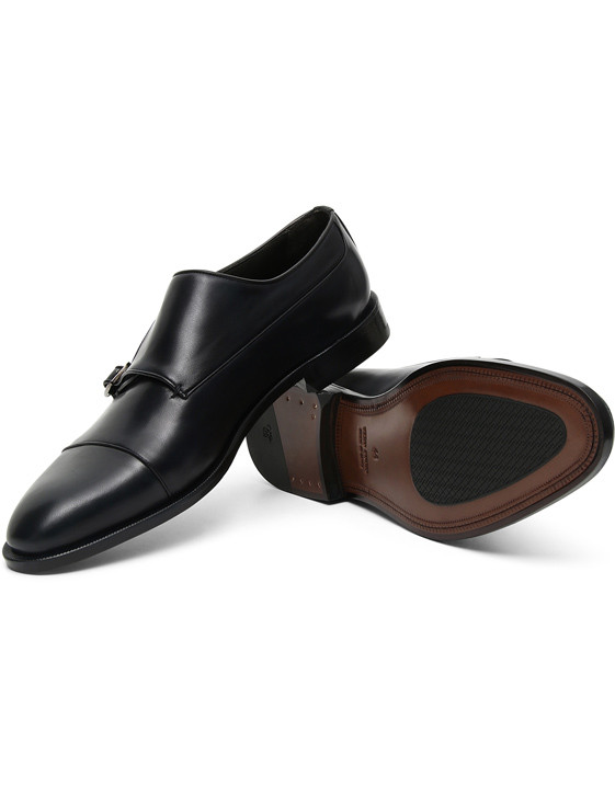 Canali Navy double monk strap shoes in buffed calfskin-2_1