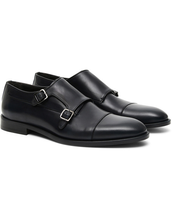 Canali Navy double monk strap shoes in buffed calfskin-2_2