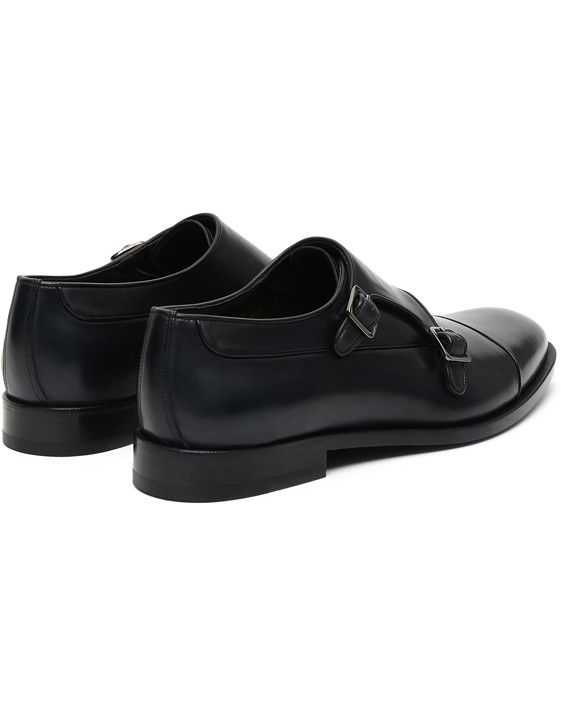 Canali Navy double monk strap shoes in buffed calfskin-2_3