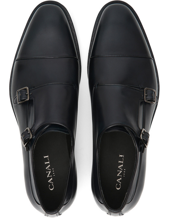 Canali Navy double monk strap shoes in buffed calfskin-2_4