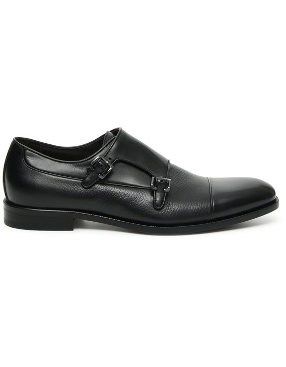 Canali Black Double Monkstrap shoes with tumbled inserts-2_0