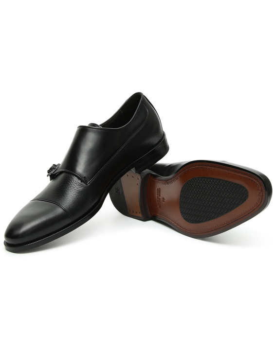Canali Black Double Monkstrap shoes with tumbled inserts-2_1