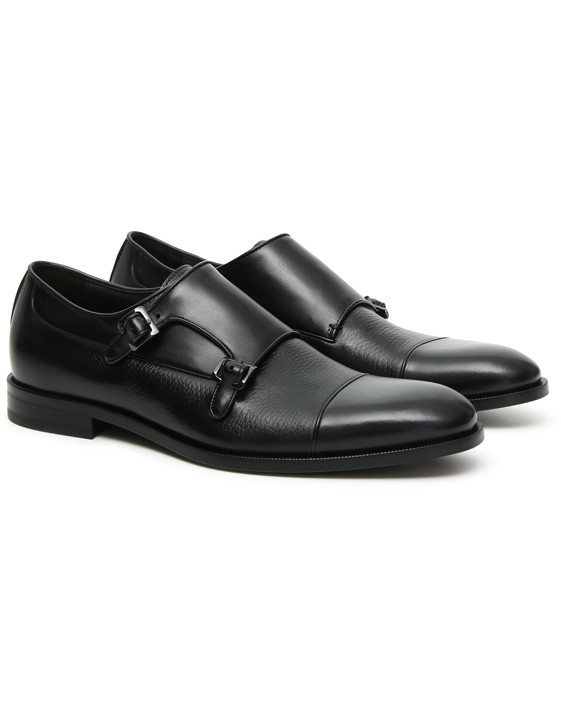 Canali Black Double Monkstrap shoes with tumbled inserts-2_2