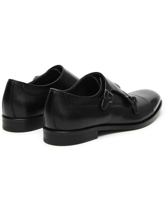 Canali Black Double Monkstrap shoes with tumbled inserts-2_3