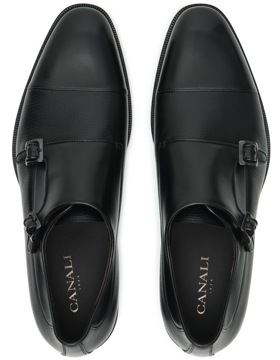 Canali Black Double Monkstrap shoes with tumbled inserts-2_4