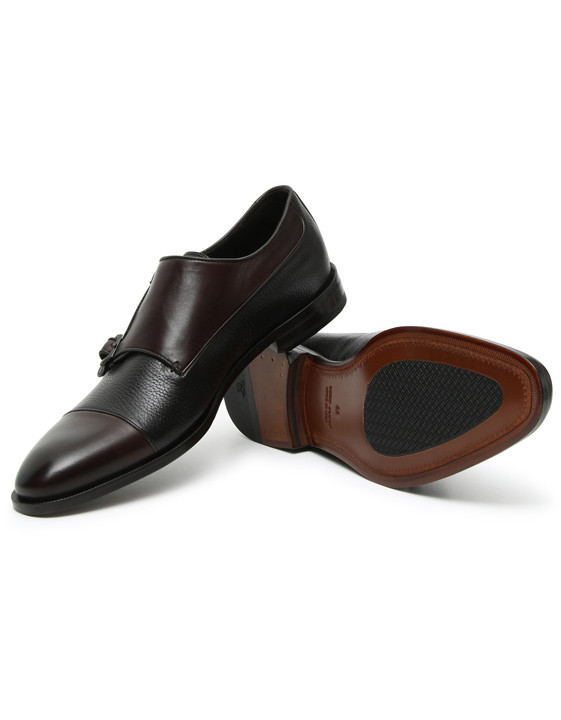 Canali Brown Double Monkstrap shoes with tumbled inserts-2_1