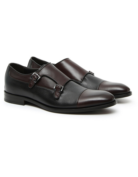 Canali Brown Double Monkstrap shoes with tumbled inserts-2_2