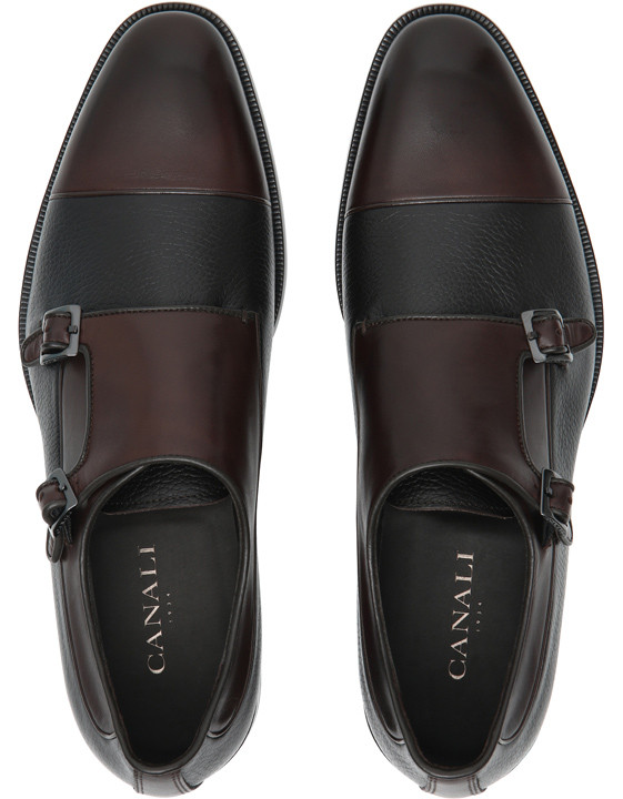 Canali Brown double monk straps in dual-textured leather-2_4