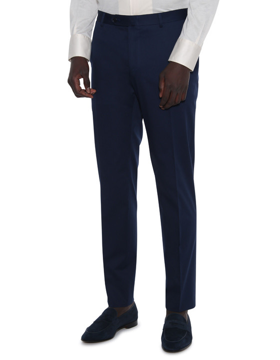 Canali Navy blue stretch cotton dress pants-2_0