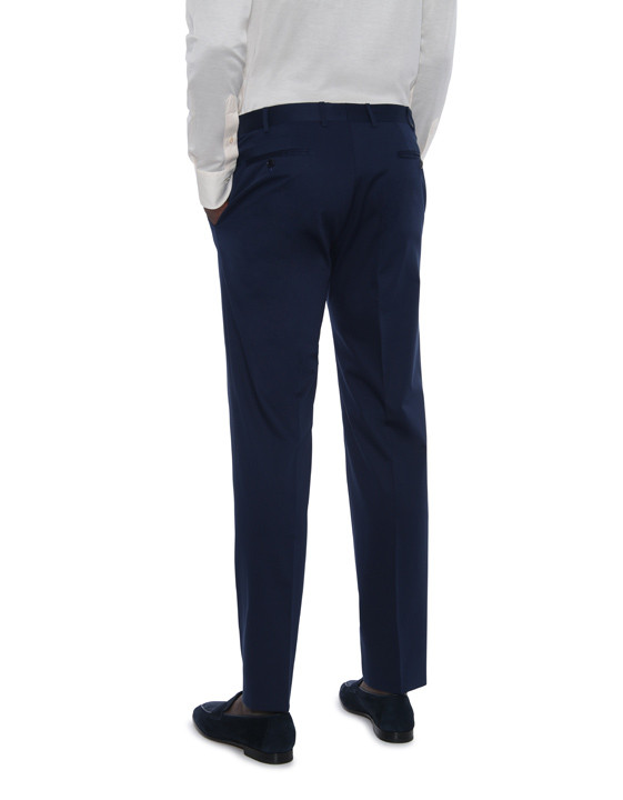 Canali Navy blue stretch cotton dress pants-2_2
