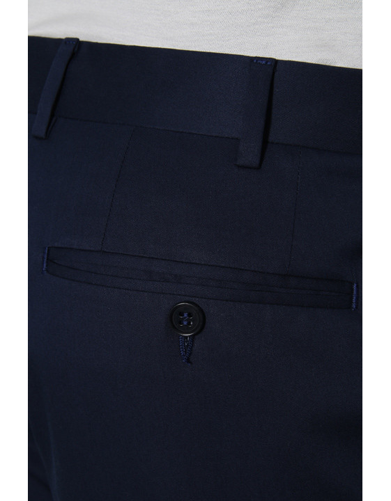 Canali Navy blue stretch cotton dress pants-2_3