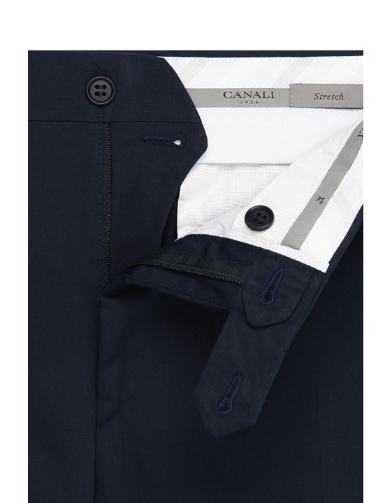 Canali Navy blue stretch cotton dress pants-2_4