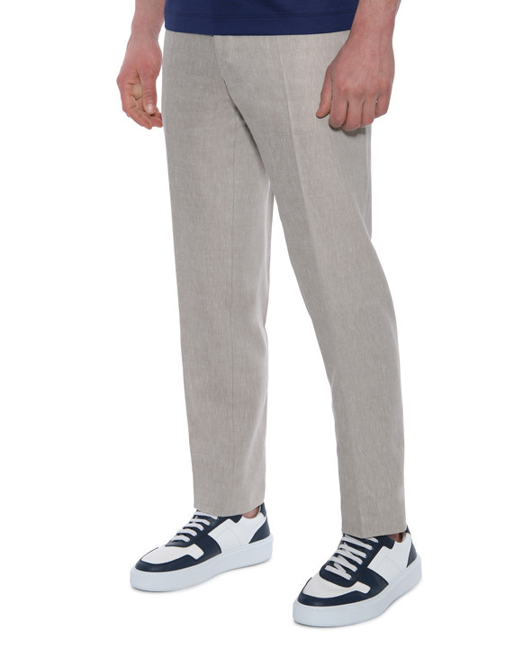 Canali Beige dress pants in linen-wool blend-2_5