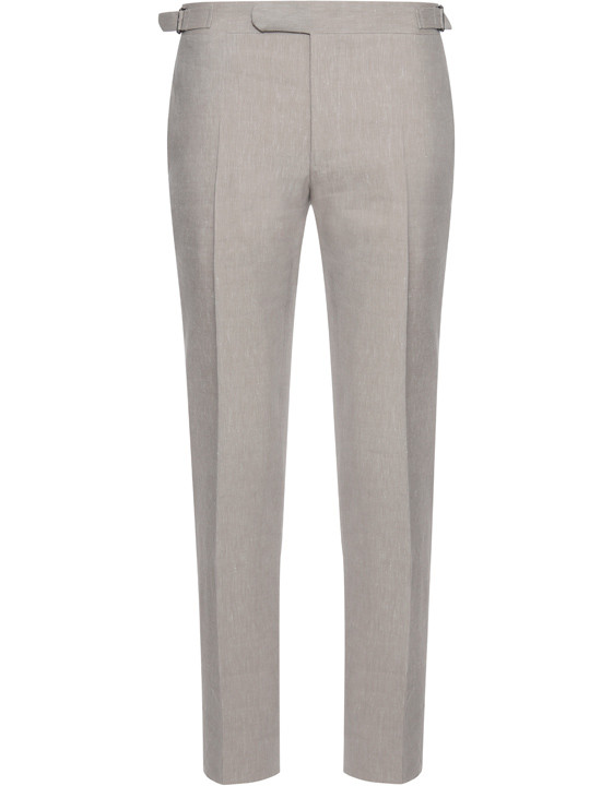 Canali Beige dress pants in linen-wool blend-2_1