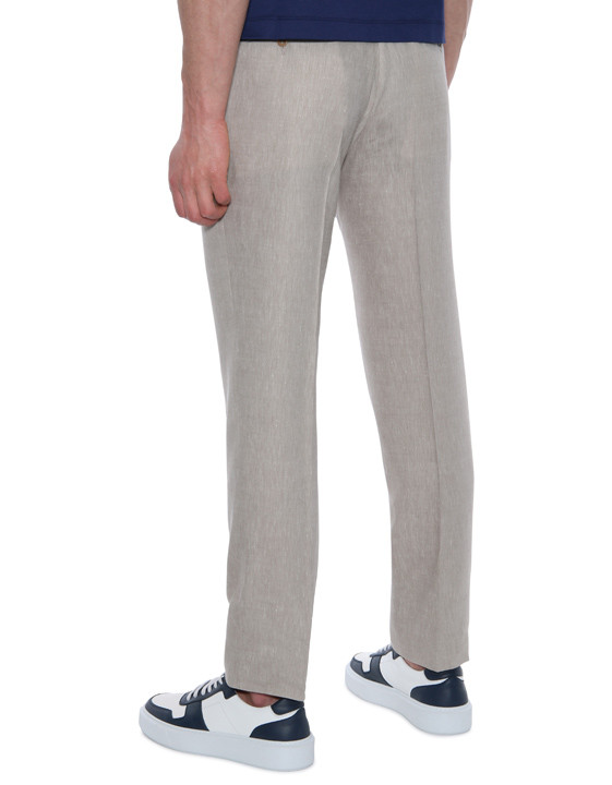 Canali Beige dress pants in linen-wool blend-2_0