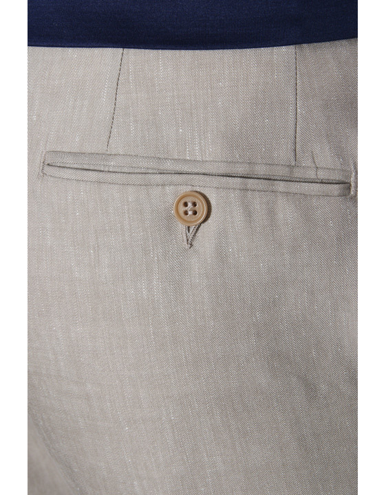 Canali Beige dress pants in linen-wool blend-2_4