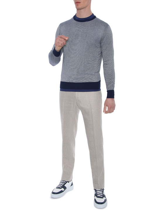Canali Beige dress pants in linen-wool blend-2_2