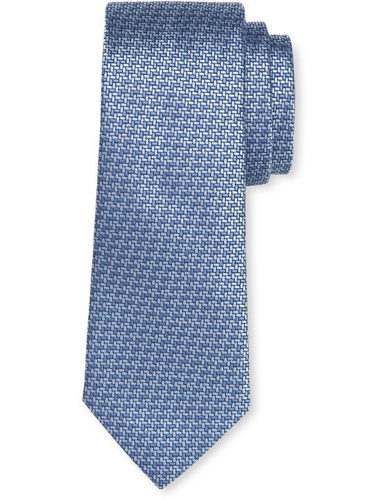 Canali Light blue silk tie with bicolored woven pattern-2_0
