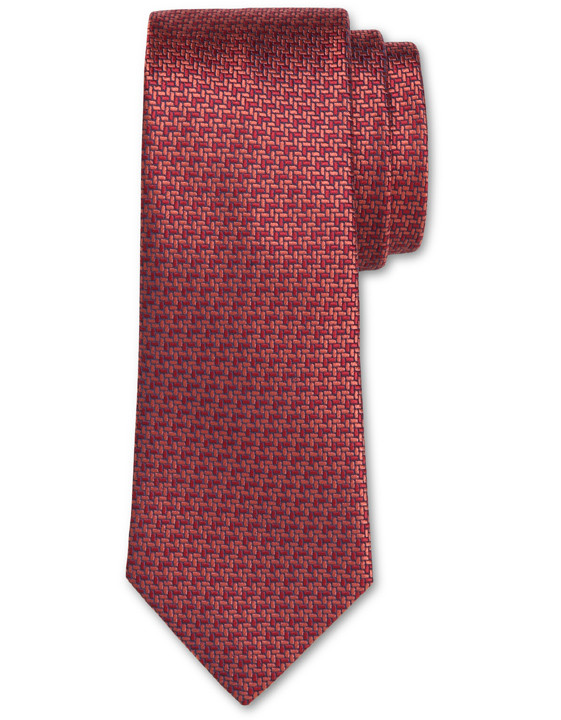 Canali Red silk tie with bicolored woven pattern-2_0