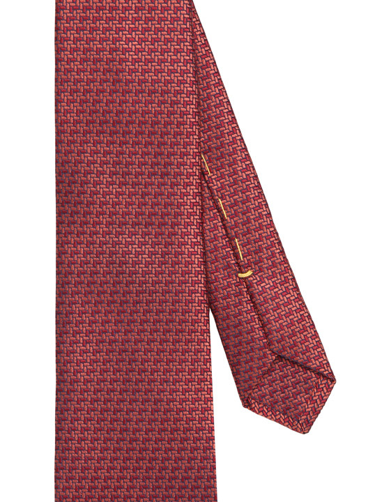 Canali Red silk tie with bicolored woven pattern-2_2