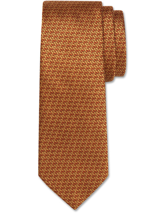 Canali Ochre silk tie with bicolored woven pattern-2_0