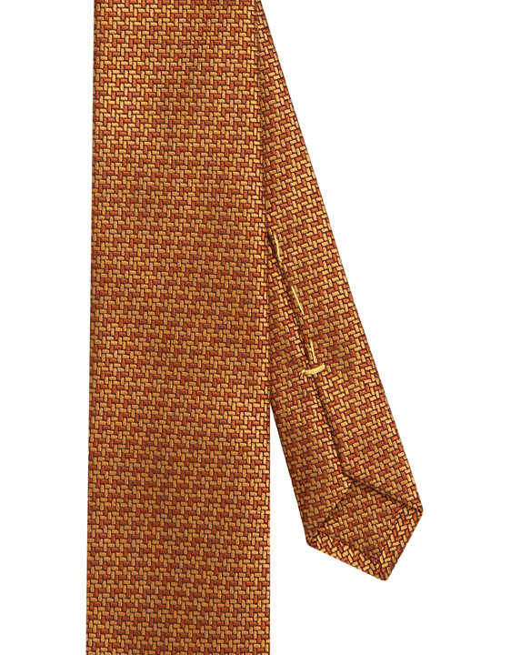 Canali Ochre silk tie with bicolored woven pattern-2_2