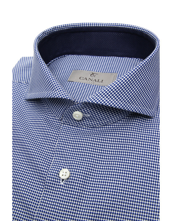 Canali Blue and white cotton dress shirt with honeycomb effect-2_1