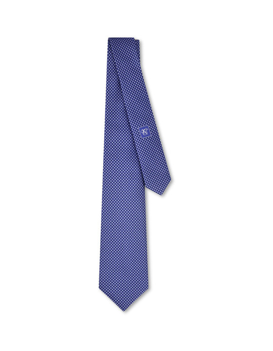 Canali Blue silk tie with optical pattern-2_0