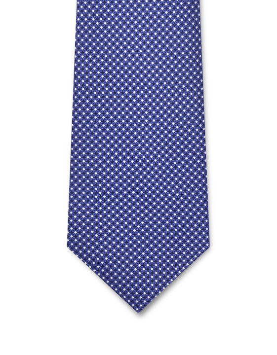 Canali Blue silk tie with optical pattern-2_1