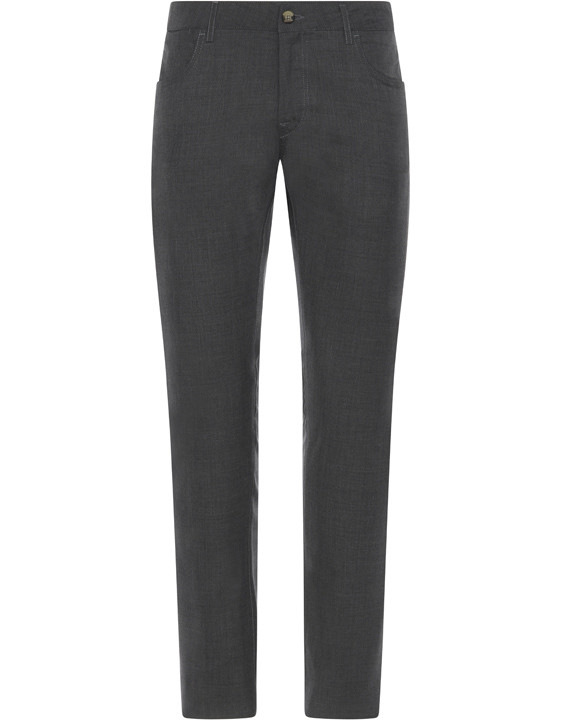 Canali Dark Gray 5-pocket pants in Impeccabile wool-2_0