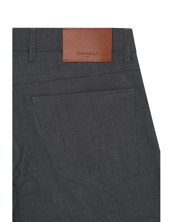 Canali Dark Gray 5-pocket pants in Impeccabile wool-2_2