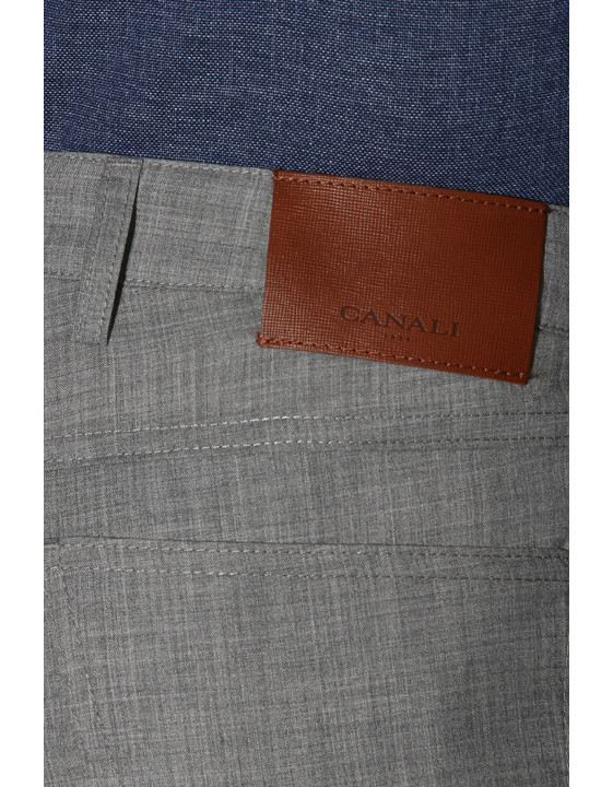 Canali Light gray 5-pocket pants in Impeccabile wool-2_3