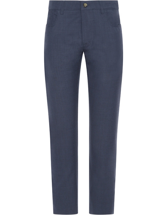Canali Dark blue 5-pocket pants in Impeccabile wool-2_0
