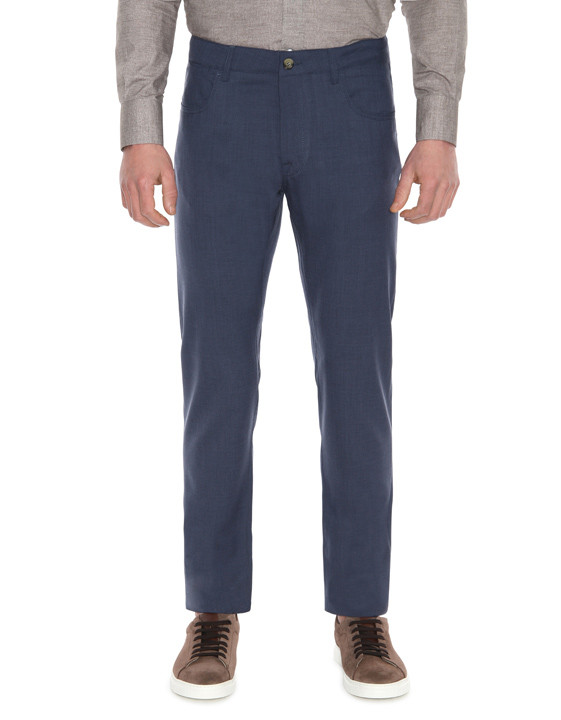 Canali Dark blue 5-pocket pants in Impeccabile wool-2_1